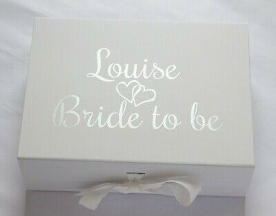 Personalised Large A4 Deep White Gift Box Christmas Bride Bridesmaid Groom Baby