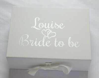 Personalised Large A4 Deep White Gift Box Mother's Day Bride Bridesmaid Groom