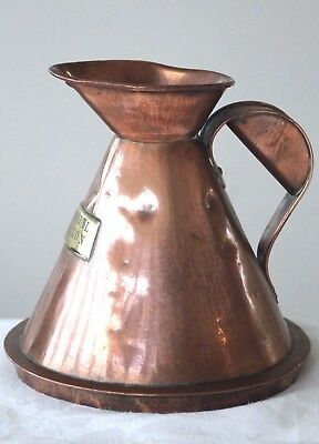 Antique large copper ale measuring jug quarter gallon brass plate