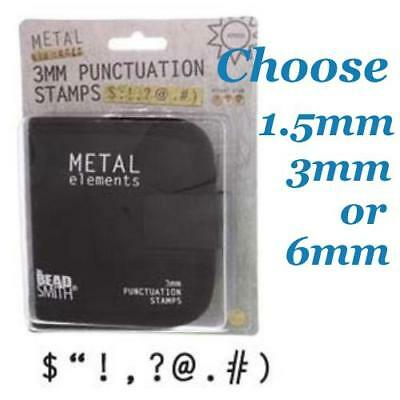 Beadsmith Stamps Punctuation Metal Stamping Punches in Canvas Case choose size
