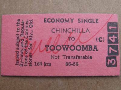 QUEENSLAND RAILWAYS CARD TICKET - CHINCHILLA to TOWOOMBA ECONOMY SINGLE