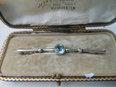 Stunning Antique Gold Bar Brooch set with a Large Aquamarine and Two Diamonds