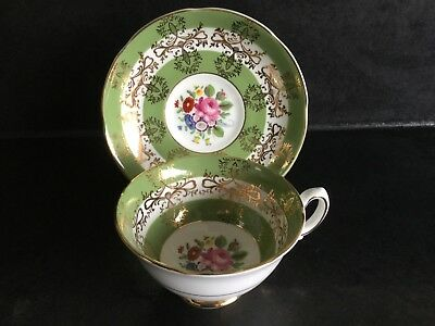 Royal Grafton Fine Bone China Green and Gold Cabinet Tea Cup and Saucer - Duo