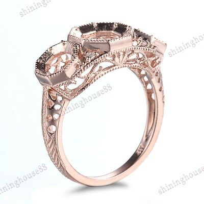 Diamonds Solid 10K Rose Gold Round Semi Mount Three-Stone Vintage Fine Ring