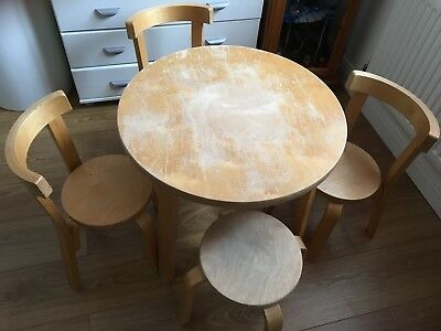 Children's Solid Wood Table, 3 Chairs and a stool.  Pre-owned.  Very sturdy.
