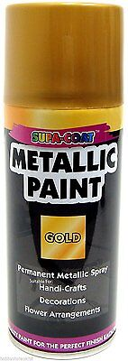 Spray paint permanent metallic golden lacquer for craft 1 can x 210 ml gold