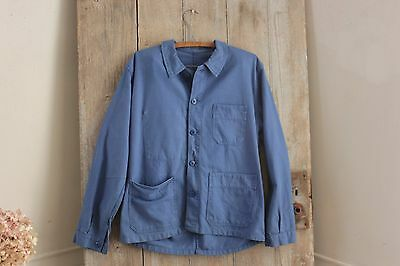Vintage French blue workwear work clothes chore coat jacket  French old Prussian