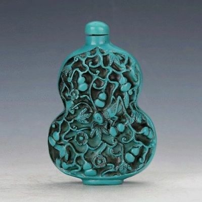 Old Peking Turquoise Hand Carved Cricket Pattern Gourd Shaped Snuff Bottle