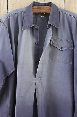 Antique French shirt peasant travaille bleus WORK / CHORE wear FADED darned