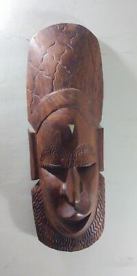 BEAUTIFUL Wall Mask FACE CARVED SOLID WOOD Decor HAND ART RARE HEAVY HANDMADE