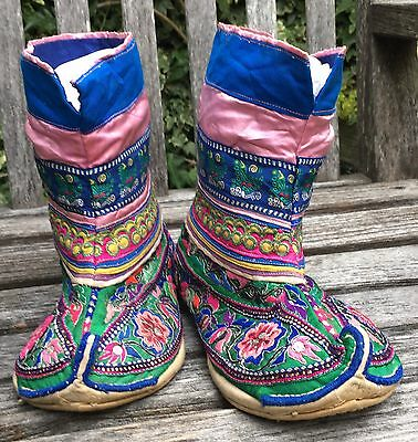 OLD Chinese Ethnic Tribal Minority People's MIAO H'mong Embroidered SHOES Boots