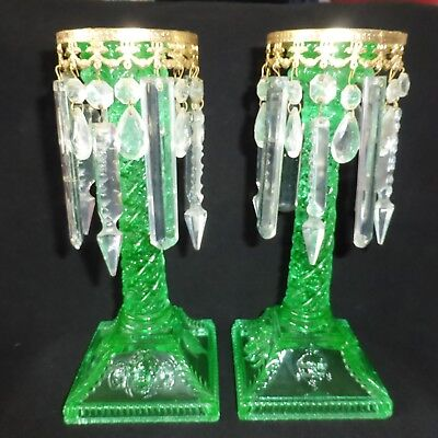 Pair, Vintage, Shabby Chic, Candlestick Crystals, Removable, Crystal Droplets.