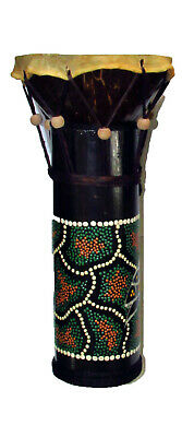 Hand Painted Bamboo and Coconut Djembe Style Drum World Music Bongo Kids Hide