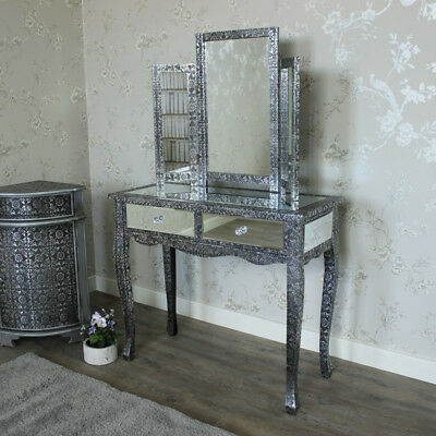 Silver Black Mirrored Dressing Table Set Embossed Vintage French Chic Bedroom