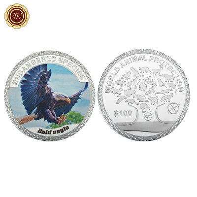 WR US Bald Eagle Colored Silver Clad Coin Endangered Animal Thanksgiving Gifts