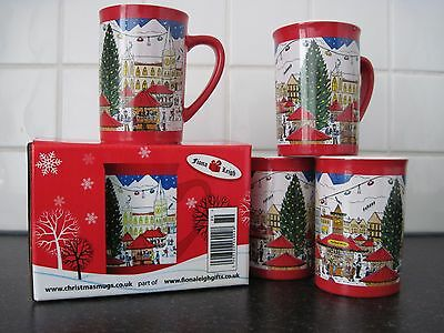4  CHRISTMAS MUGS from Fiona Leigh Gifts in Christmas scene