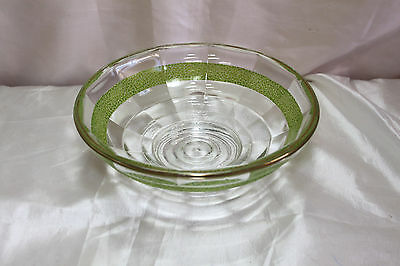 Vintage 1940s Anchor Hocking Depression Glass Bowl with Green Ring & Gold Gilt