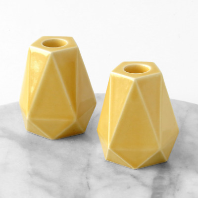 Handmade Geometric Candle Holders, Pentagon Yellow Ceramic, Pair of Shabbat cand