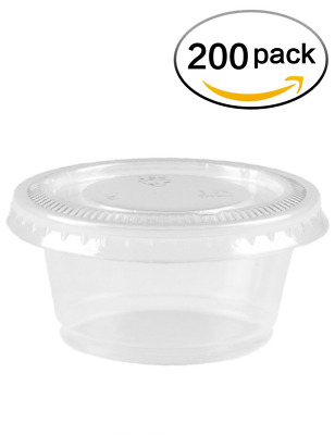 Gotopack 2oz - sets of 200 - Slime Containers PP Plastic Cups with PET Plastic L