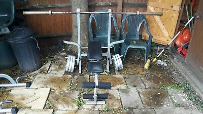 weight bench - with 20kg Olympic bar and 76 kg gazebo weights (fit on to bar).