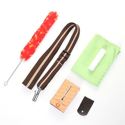 Saxophone Flute Clarinet Accessory Kit Strap +Reed+Clean Cloth+Brush+Cork Grease