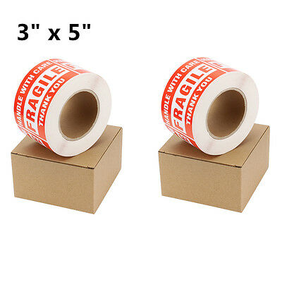 2 Roll 500/Roll 3 x 5 Fragile Stickers Handle with Care Thank You Shipping Label