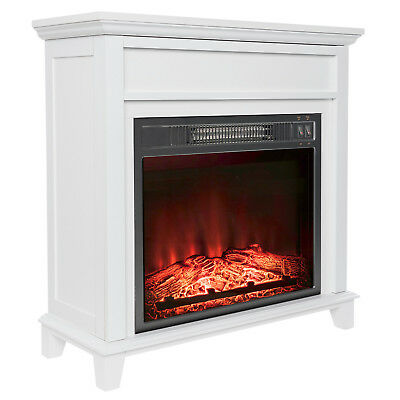 """27"""" Freestanding White Wood Mantel Electric Fireplace Heater LED Flame w/ Log"""