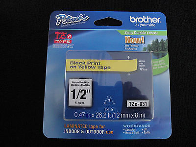"Brother P-Touch TZe-631 BLACK PRINT ON YELLOW LABEL TAPE 1/2"" 12MM X8M ORIGINAL"