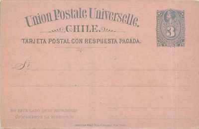 Postal entirety Stationary Chile Chîle 3c with reply card
