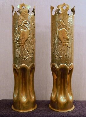 Exceptionally Large & Decorative Pair of c1916 WW1 Trench Art Shell Case Vases