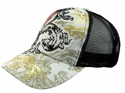 Ladies Cap Black and White Heart N Roses