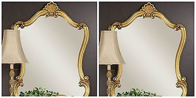 """Two Large 35"""" Antiqued Speckled Gold Shaped Wall Mirror Unique Vintage Style"""