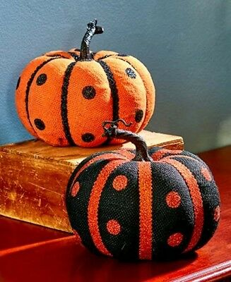Polka Dots Pumpkin Set Halloween Decor Black Orange Table Display Harvest Gourd