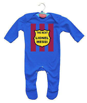 Baby's FC Barcelona football inspired The next Lionel Messi long sleeve romper