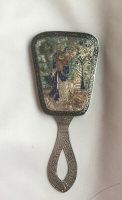 Hallmark India Silver And Maker AK Enamel Handheld Mirror -41.55g