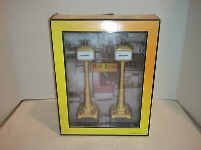 MTH RailKing No. 57  30-1097 Cream Die-Cast Street Lamp Set of 2 New in Box!