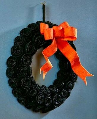 Black Roses Wreath Halloween Decor Bow Black Orange Goth Wall Art Home Glitter