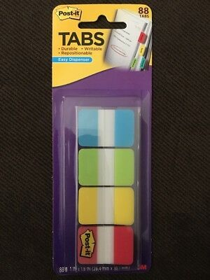 """3M Post It Tabs .625"""" x 1.5"""" Writable Repositionable 4 Bright Colors; 88 Tabs/pk"""