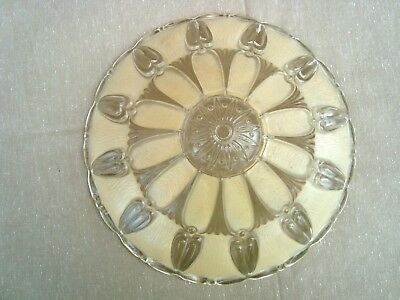 "Vintage Clear and Frosted Art Deco Ceiling Mount Light Shade 12"" diameter"