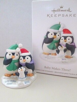 NEW Hallmark Christmas Ornament 2012 Penguin Family You & Me Baby Makes Three !