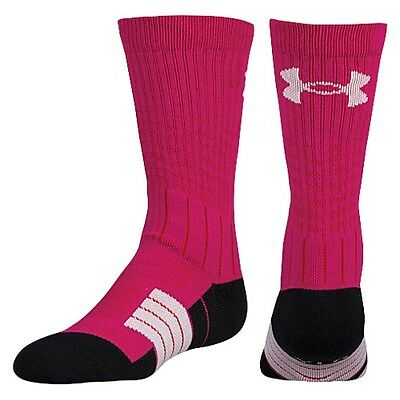 NEW Under Armour Boys UA UNRIVALED Youth Large YLG Crew Sock Pink 1 Pair
