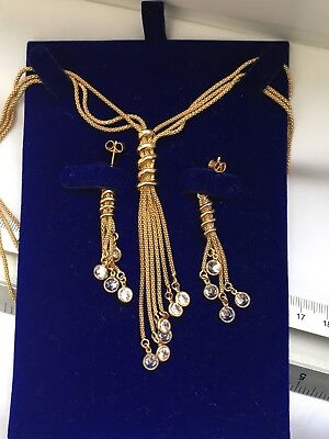 Mark Italy 925 Designer Silver Gilt Dangling Tassel earring & Necklace-20.39g