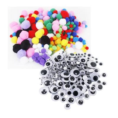 308x Self Adhesive Googly Wiggle Eyes and 300x Assorted Size Pompom Balls
