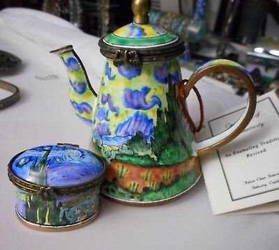 Lot of 2 KELVIN CHEN Hand Painted Enamel Design Tea Pot & Tooth Fairy Box
