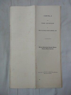 India Calcutta  Old Case Document The Hoble Syed Ameer Ali  Torn And Fold  Ad1.2