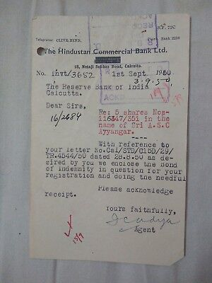 India Calcutta Hindustan Commercial Bank Limited Document 1950  Ad1.27