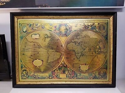 Framed Nova Totivs Terrarvm Orbis Geographica Tabvla Gold Foiled World Map