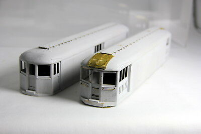 2 - O Scale Gray Painted Wooden Trolley Bodies, Interurban Traction