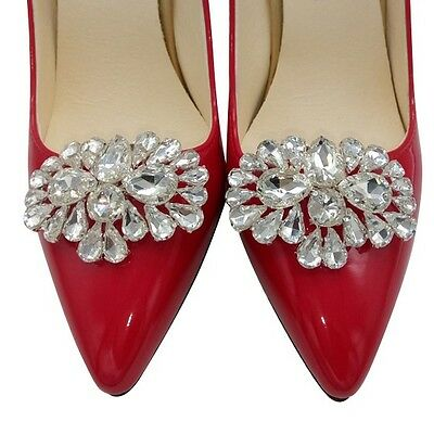 Brilliant Wedding / Special Events Rhinestone Silver Plated Shoe Clips #609