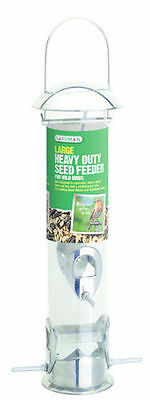Large Gardman Heavy Duty Polished Aluminium Seed Feeder Easy Fill Feeder